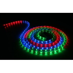 5 Meter RGB Roll LED Strip 5050 IP65, 24 Key Remote Controller, 5A/12V UK Plug Power Supply